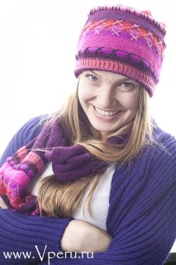 Шапка шарф два в одном,натуральный комплект, связанный в Перу