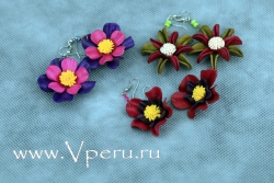 Серьги цветы бижутерия ручной работы