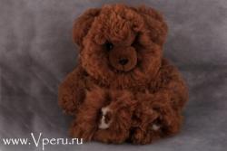 Мишка коричневый - мягкая игрушка  ручной работы, из натурального меха альпака.