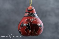 """ёлочные украшения, рождественская игрушка """"Дед Мороз с оленем"""""""