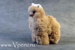 мягкая игрушка лама из натурального меха альпака