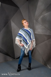 пончо особое с специальным дизайном из шерсти Альпака