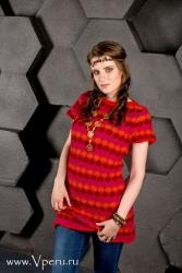 Вязаное летнее платье из шерсти Альпака.