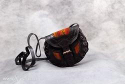 Сумка из кожи маленькая украшенная тканью Аякучо