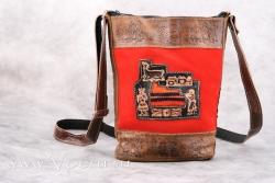 Перуанская кожаная сумка через плечо